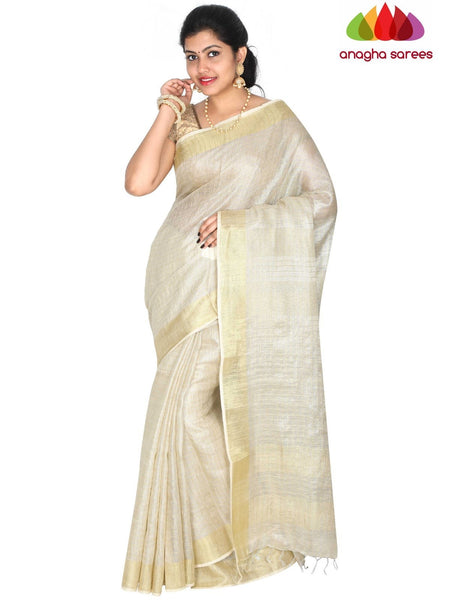 Anagha Sarees Pure Linen Length=6.2metres, width= 45 inches / Off-White Pure Linen Saree - Off-White : ANA_H40
