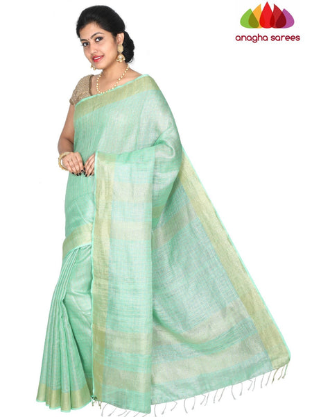 Anagha Sarees Pure Linen Length=6.2metres, width= 45 inches / Sea Green Pure Linen Saree - Pista Green : ANA_H44