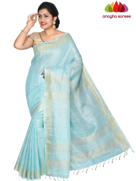 Anagha Sarees Pure Linen Length=6.2metres, width= 45 inches / Sky Blue Pure Linen Saree - Sky Blue : ANA_H45
