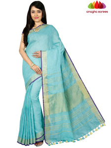 Pure Linen Saree - Light Blue ANA_C76