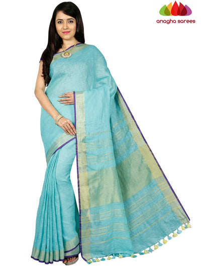 Pure Linen Saree - Light Blue ANA_C76 - Anagha Sarees