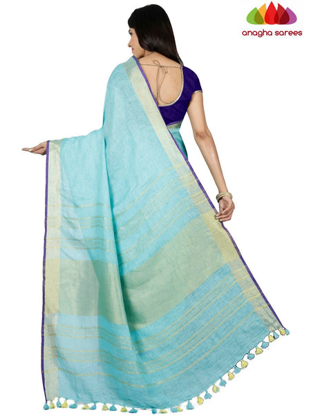 Anagha Sarees Pure Linen Pure Linen Saree - Light Blue ANA_C76