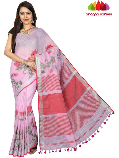 Pure Linen Saree - Light Pink ANA_E06 - Anagha Sarees