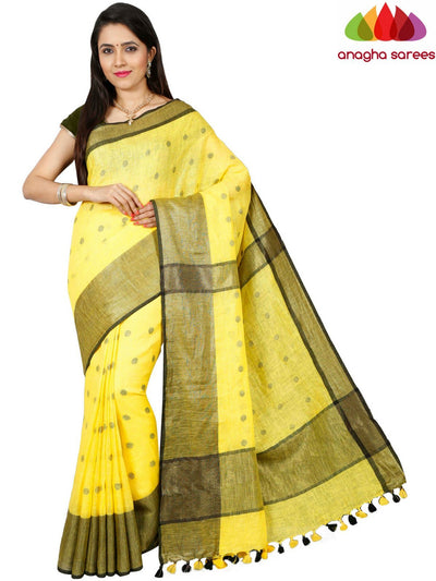 Pure Linen Saree - Yellow ANA_D81 - Anagha Sarees