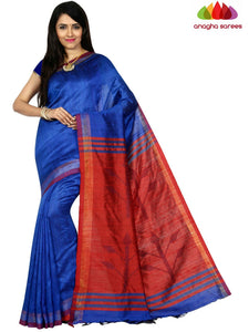 Pure Raw Silk Saree - Blue  ANA_C73
