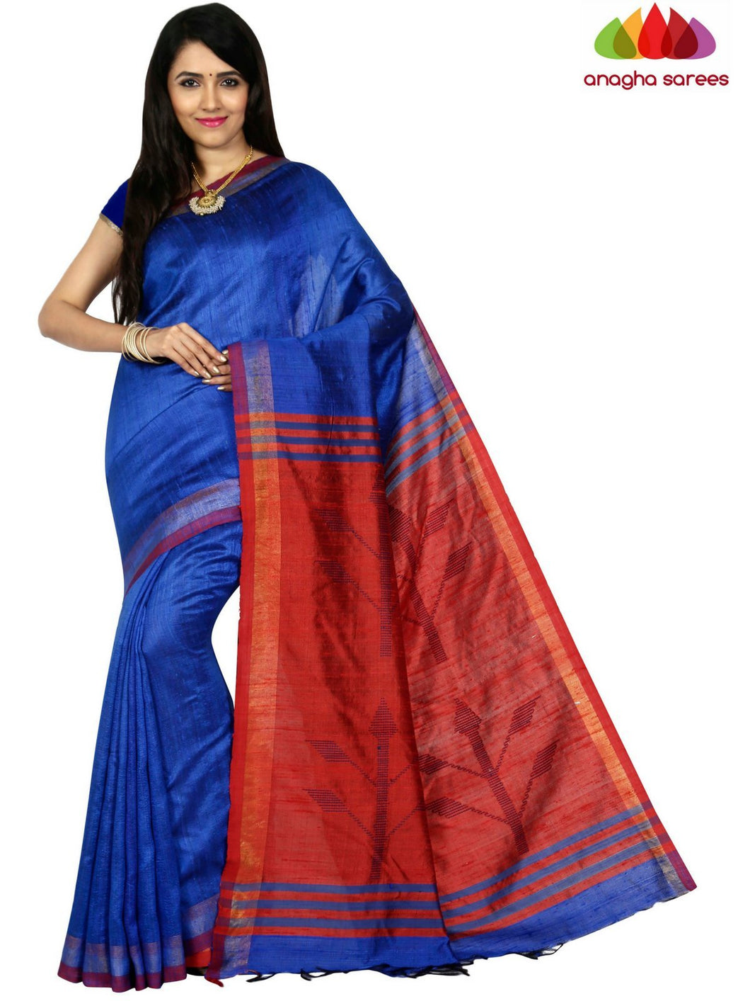 Anagha Sarees Pure Raw Silk Pure Raw Silk Saree - Blue  ANA_C73