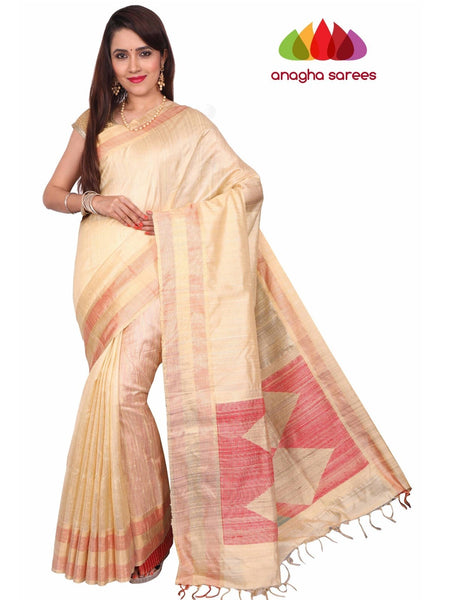 Pure Raw Silk Saree - Golden Beige : ANA_F73