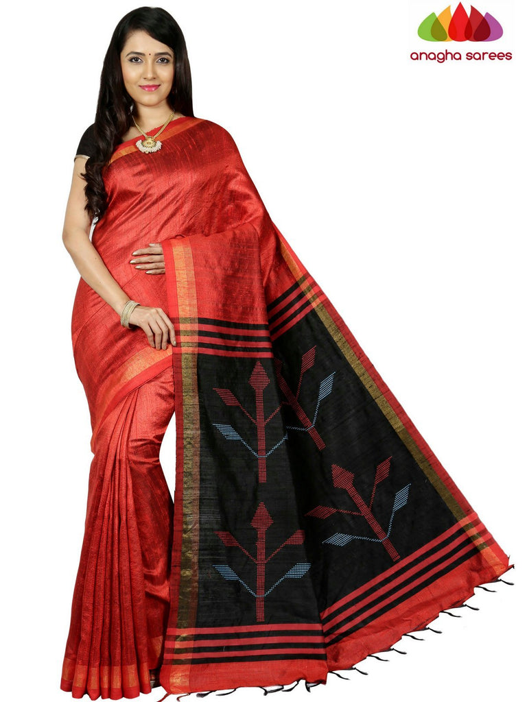 Pure Raw Silk Saree - Red  ANA_C72 Anagha Sarees