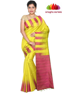 Designer Kanjivaram Pure Soft Silk Saree - Lime Green : ANA_G77