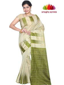 Designer Kanjivaram Pure Soft Silk Saree - Greenish Beige : ANA_G78
