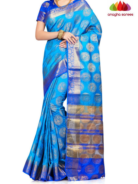 Designer Raw Silk Saree - Light Blue ANA_E46 - Anagha Sarees
