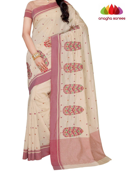 Designer Raw Silk Saree - Off White ANA_F28 - Anagha Sarees
