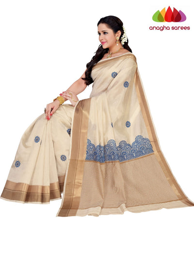 Designer Raw Silk Saree - Off White ANA_F31 - Anagha Sarees