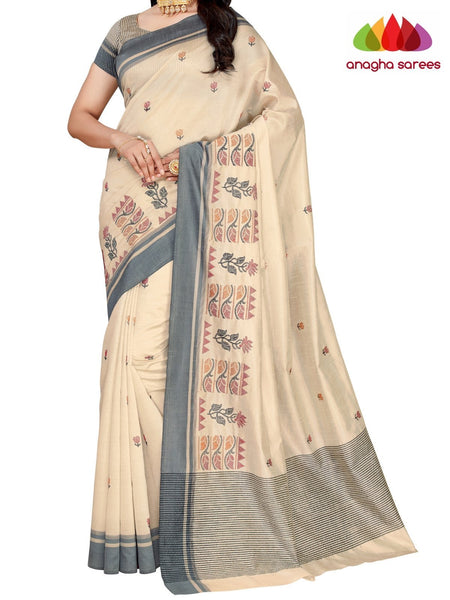 Designer Raw Silk Saree - Off White ANA_F32 - Anagha Sarees