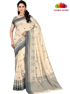 Designer Raw Silk Saree - Off White  ANA_F39