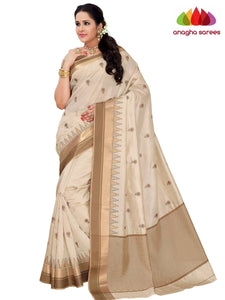 Designer Raw Silk Saree - Off White  ANA_F40