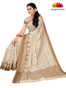 Designer Raw Silk Saree - Off White  ANA_F41