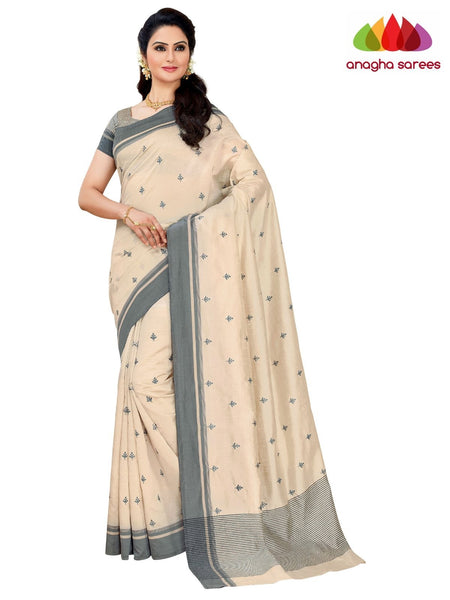 Designer Raw Silk Saree - Off White  ANA_F42