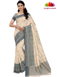 Designer Raw Silk Saree - Off White  ANA_F43