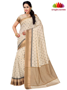 Designer Raw Silk Saree - Off White  ANA_F44