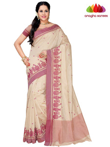 Designer Raw Silk Saree - Off White  ANA_F45