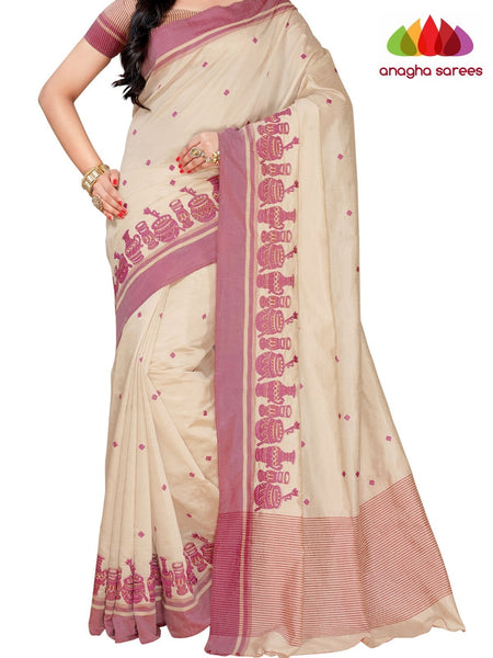 Designer Raw Silk Saree - Off White  ANA_F45 - Anagha Sarees