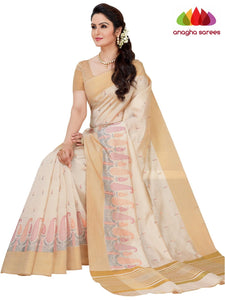 Designer Raw Silk Saree - Off White  ANA_F46