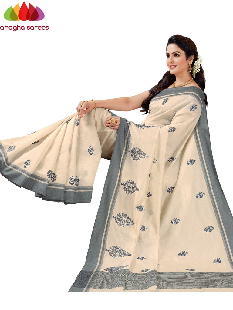 Designer Raw Silk Saree - Off White  ANA_F47 - Anagha Sarees
