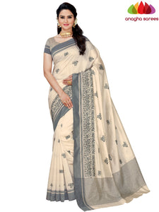 Designer Raw Silk Saree - Off White  ANA_F48