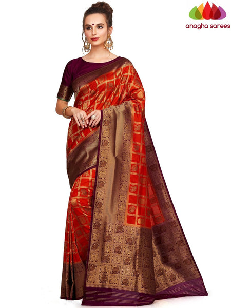 Designer Raw Silk Saree - Orange ANA_E69 - Anagha Sarees