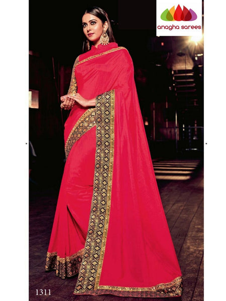 Designer Raw Silk Saree - Red ANA_B32 - Anagha Sarees