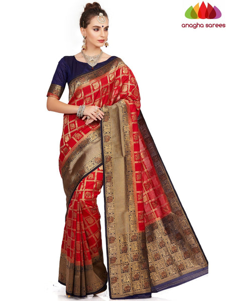 Designer Raw Silk Saree - Red ANA_E71 - Anagha Sarees