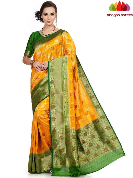 Designer Raw Silk Saree - Yellow ANA_E65 - Anagha Sarees