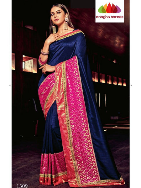 Designer Soft Raw Silk Saree - Navy Blue ANA_B38 - Anagha Sarees