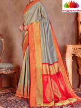 Anagha Sarees Raw silk Length=6.3metres, width=45 inches / Beige Designer Soft Silk Saree - Silver Grey : ANA_L14