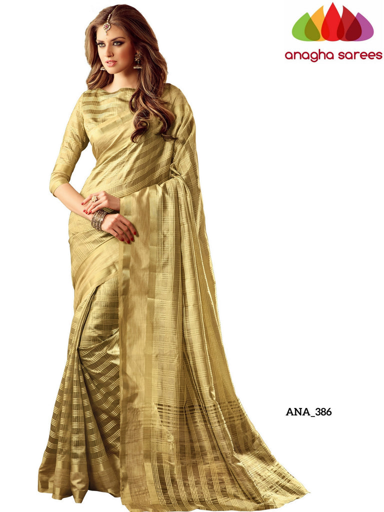 Checkered Raw Silk Designer Saree - Golden Beige ANA_386 Anagha Sarees