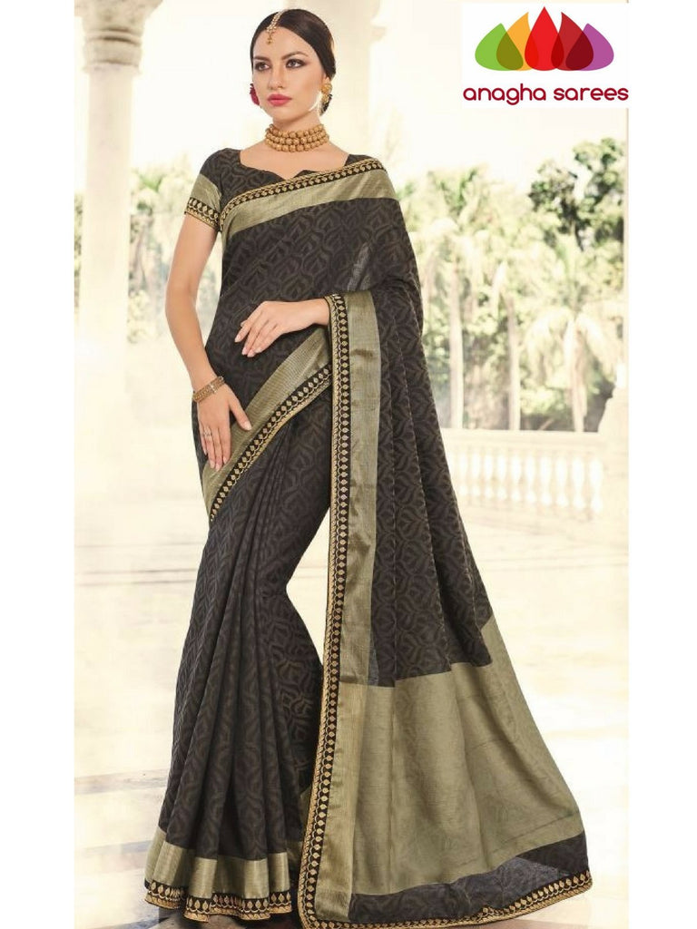 Designer Fancy Silk Saree - Black ANA_715 Anagha Sarees
