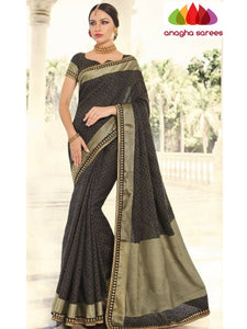 Designer Fancy Silk Saree - Black ANA_715