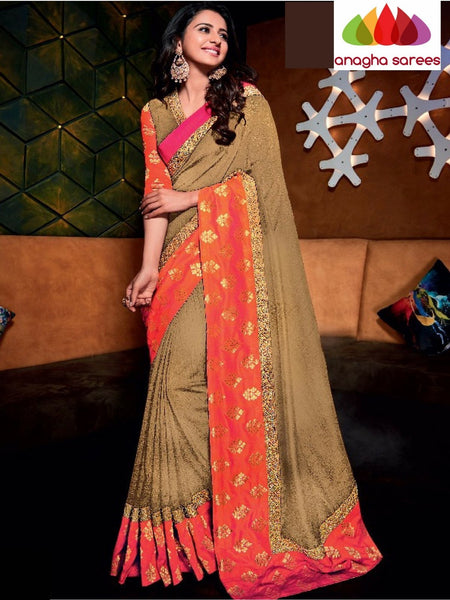 Designer Raw Silk Saree - Beige - Orange ANA_714