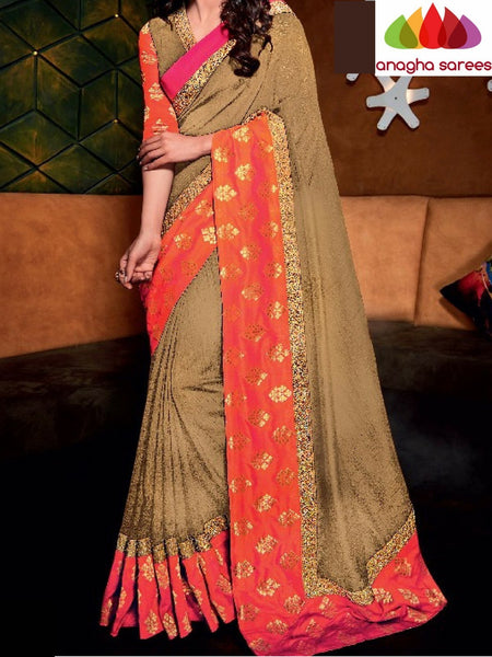 Designer Raw Silk Saree - Beige - Orange ANA_714 - Anagha Sarees