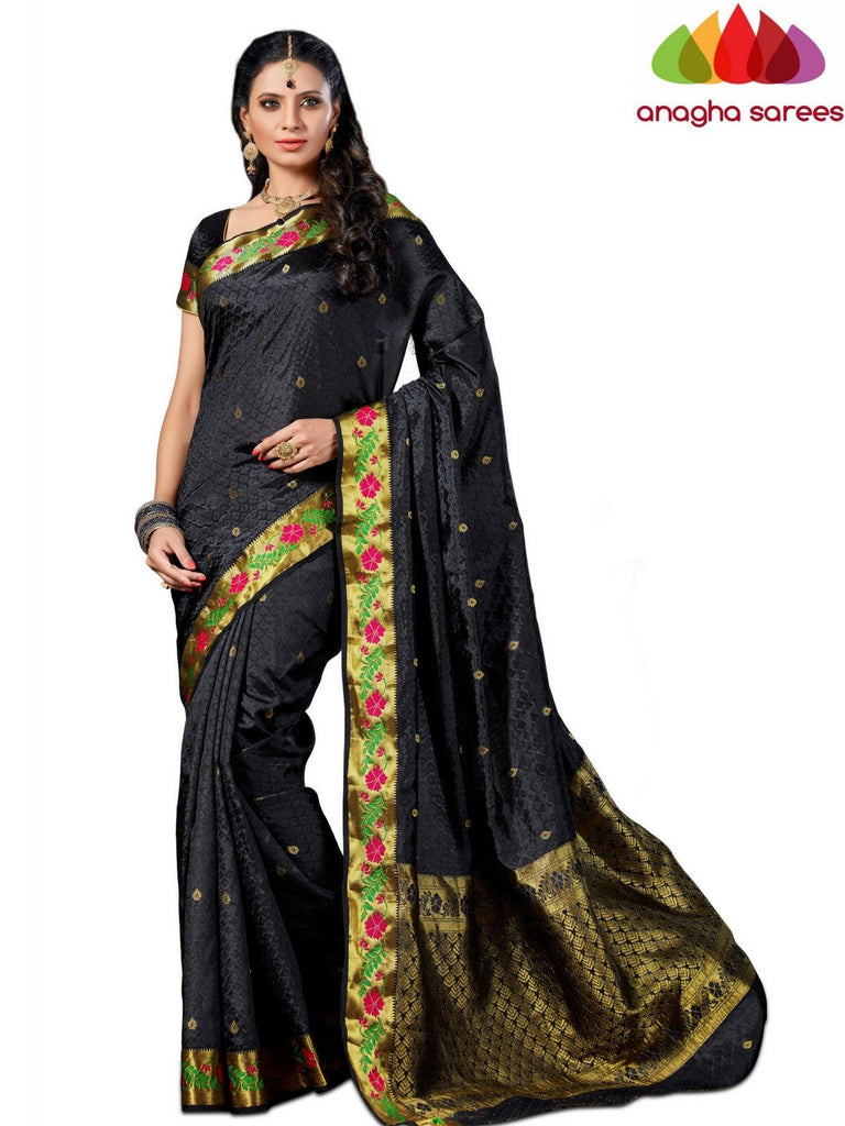 Designer Raw Silk Saree - Black  ANA_548 - Anagha Sarees