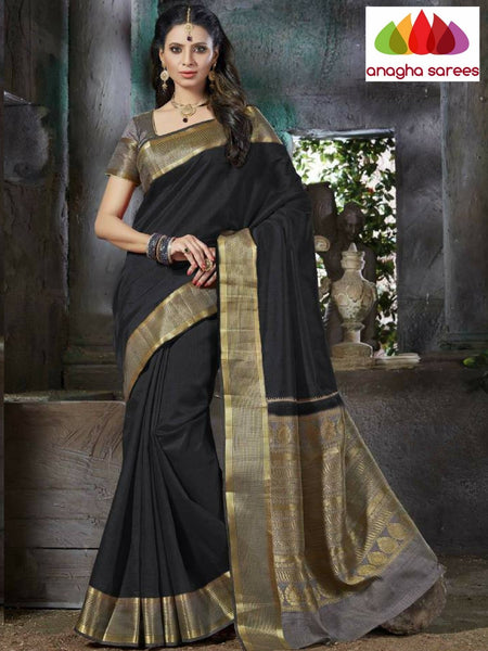 Designer Raw Silk Saree - Black  ANA_662