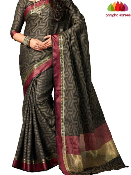 Designer Raw Silk Saree - Black ANA_702 - Anagha Sarees