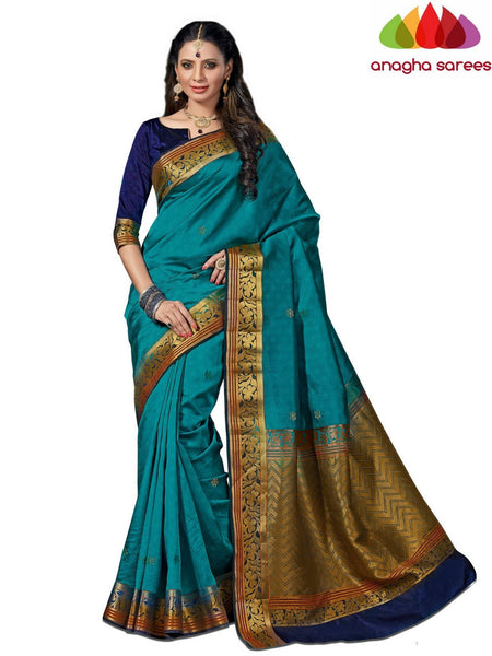 Designer Raw Silk Saree - Blue  ANA_540