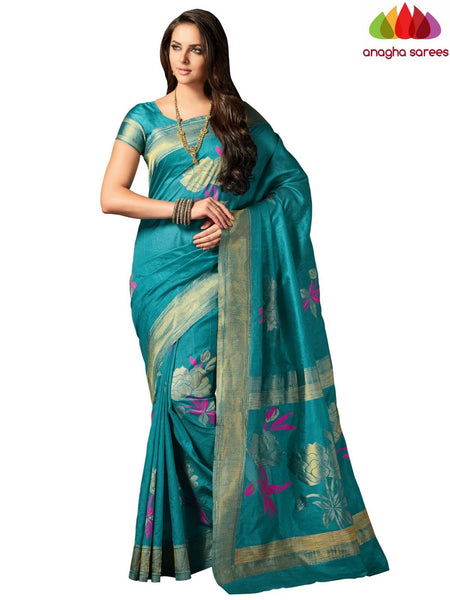 Designer Raw Silk Saree - Blue ANA_704
