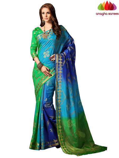 Designer Raw Silk Saree - Blue-Green ANA_707 - Anagha Sarees
