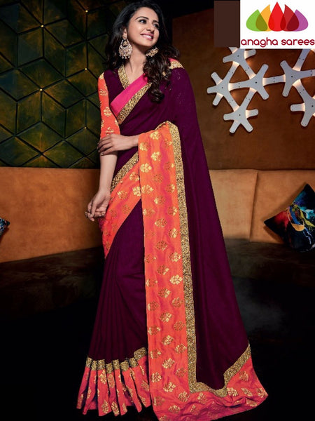 Designer Raw Silk Saree - Dark Magenta - Orange ANA_721 - Anagha Sarees