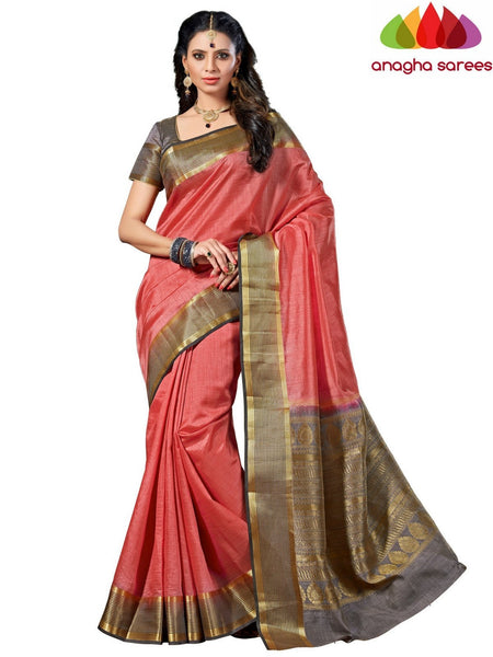 Designer Raw Silk Saree - Dark Peach  ANA_539 - Anagha Sarees