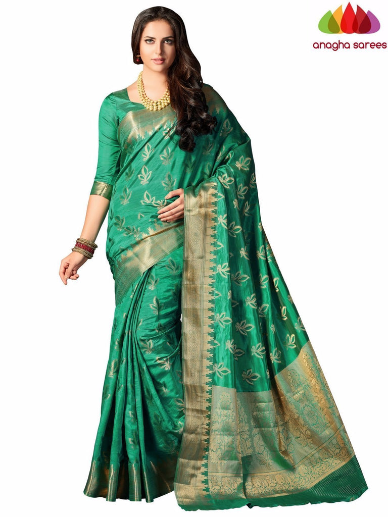 Designer Raw Silk Saree - Green ANA_709 Anagha Sarees
