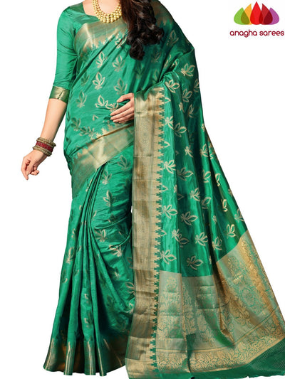Designer Raw Silk Saree - Green ANA_709 - Anagha Sarees